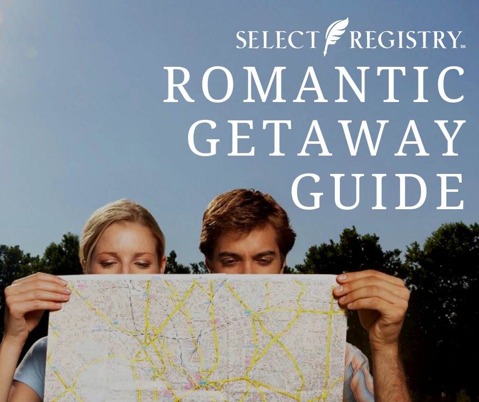 couple planning their perfect romantic vacation text reads romantic getaway guide