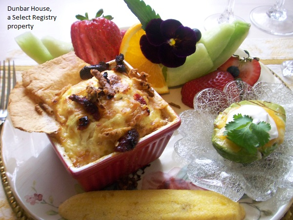 fruit and quiche breakfast at the dunbar house inn bed and breakfast