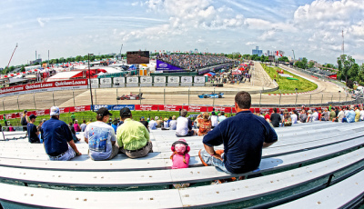 view from the stands at the belle island grand prix race