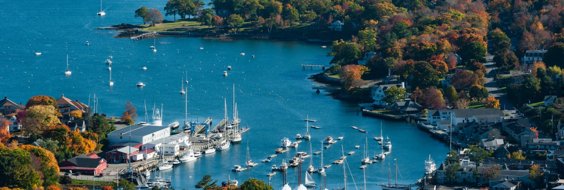 aerial view of camden maine harbor in fall 1