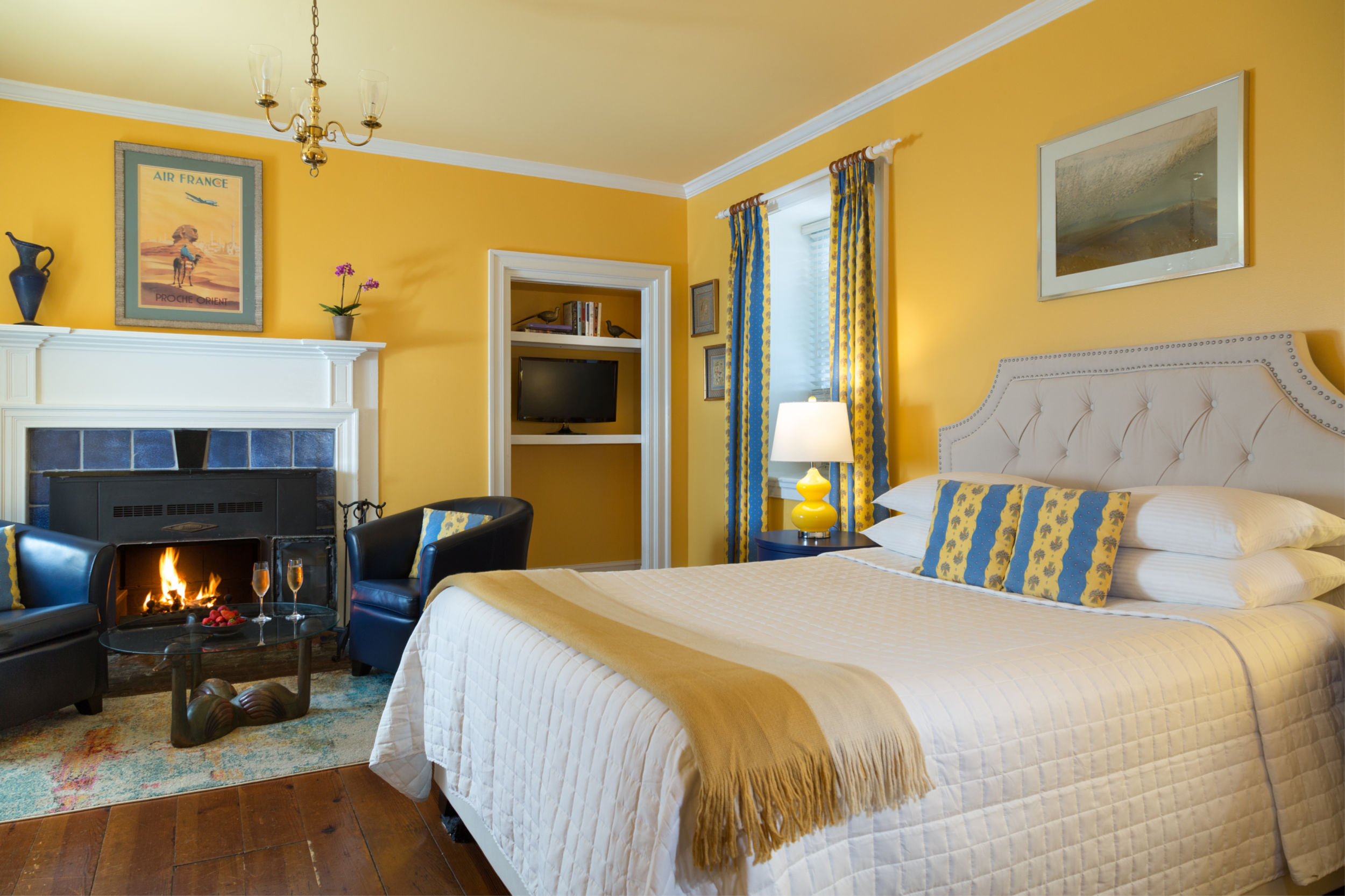 Lauberge Provencale B&B beautiful bright yellow room