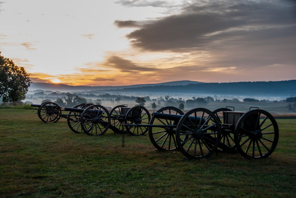 Sunrise over Antietam civil war era cannons