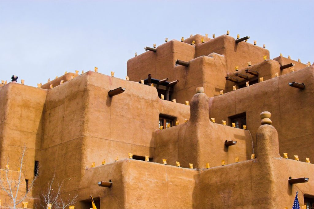 square architecture of santa fe adboe