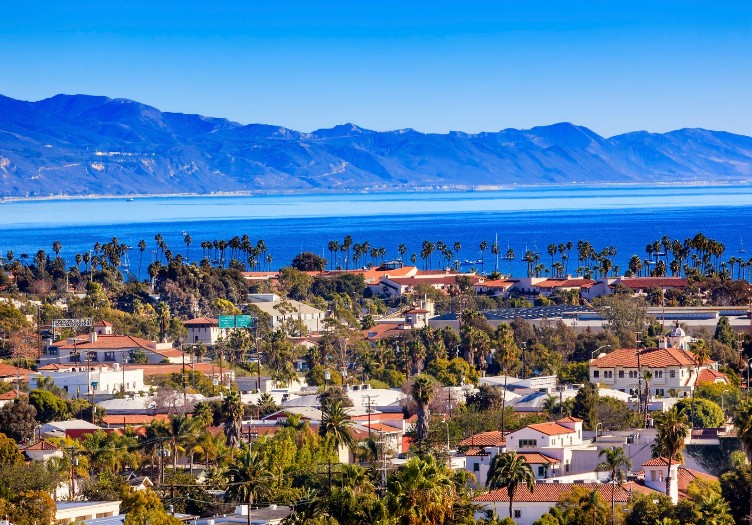 Orange Roofs Buildings Coastline Pacific Oecan Santa Barbara California