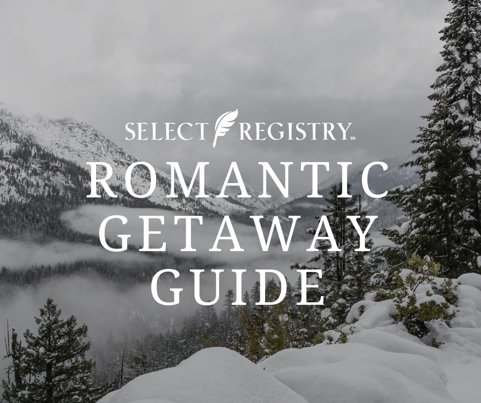 text reads romantic getaway guide photo of december winter mountain scene