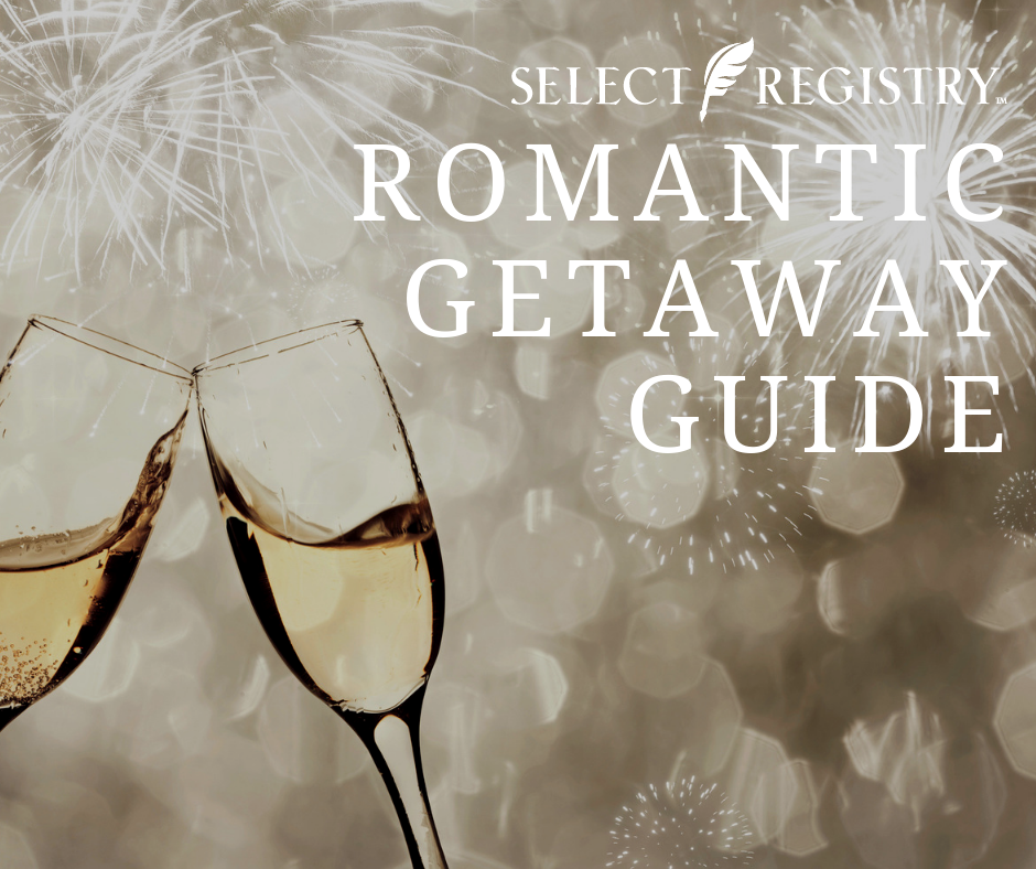 champagne flutes toasting NYE celebration text reads select registry romantic getaway guide