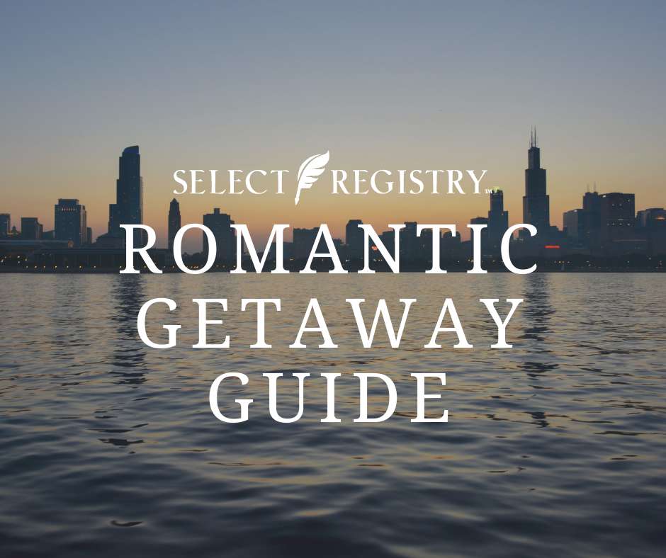 beautiful sunset against new orleans skyline text reads romantic getaway guide