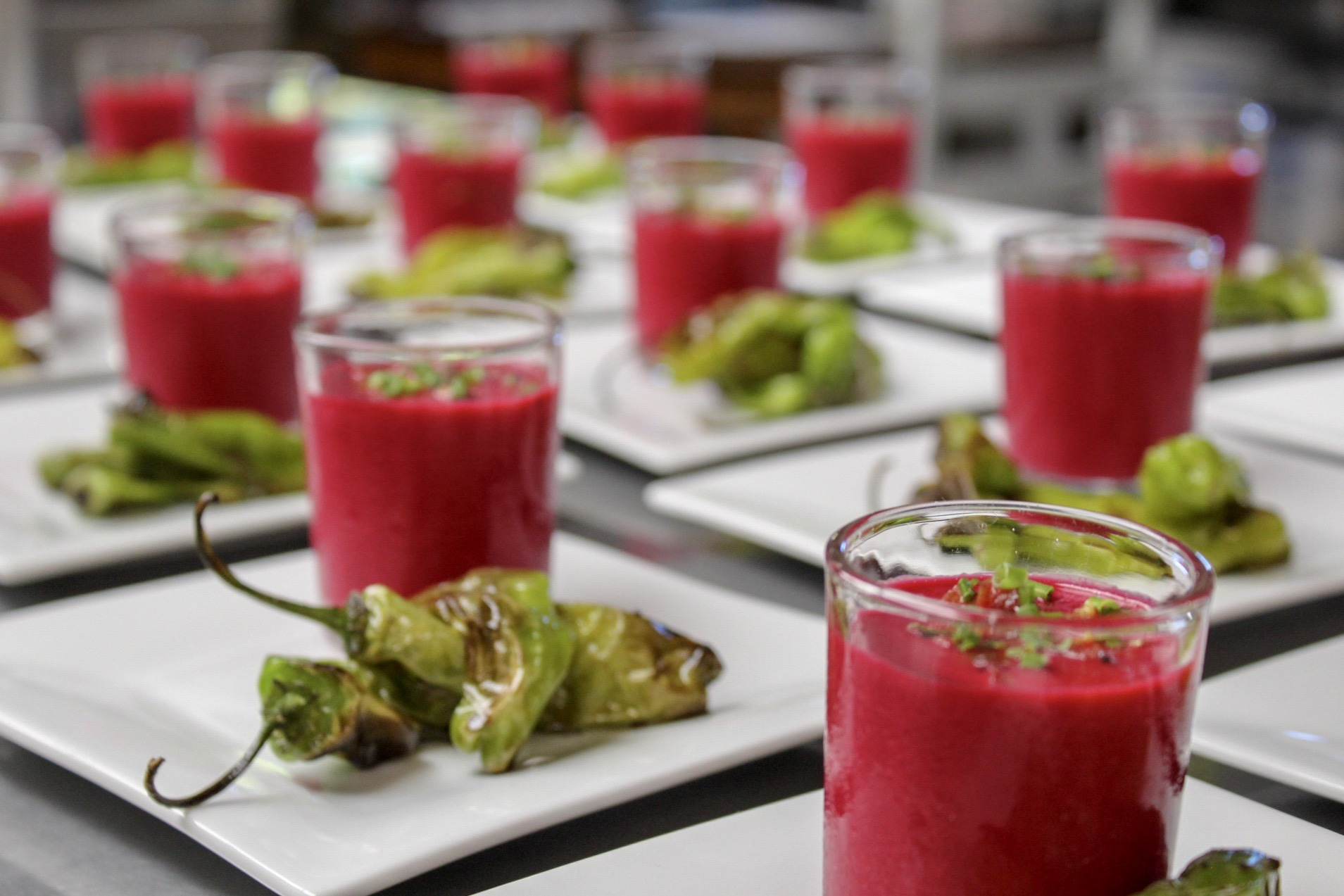 Shishito Peppers and Chilled Beet Soup - The Bradley Inn