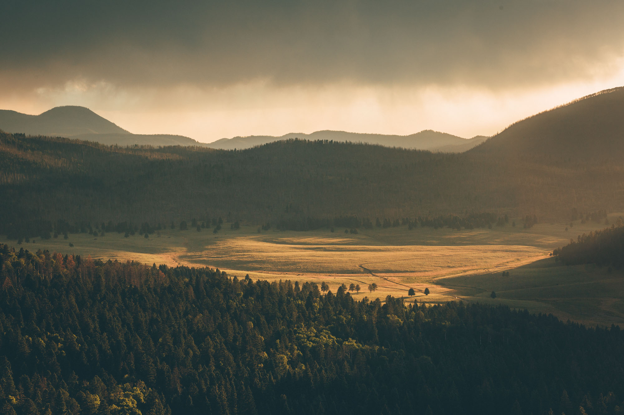 Valles Caldera national Park with storm clouds