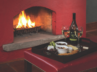 historic smithton inn fireplace and wine and cheese